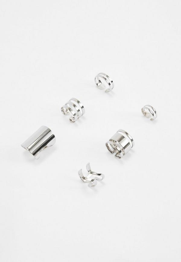 Silver Cut Out Metal Rings Pack