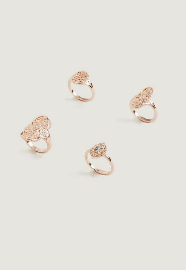 Rose Gold 4 Rings Pack