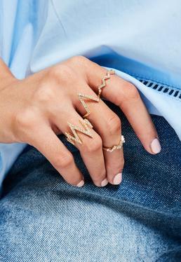 Gold Diamante Spike Ring Set