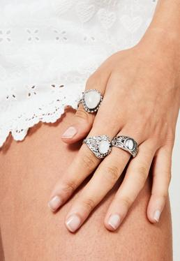 Silver Stone Detail Ring Set