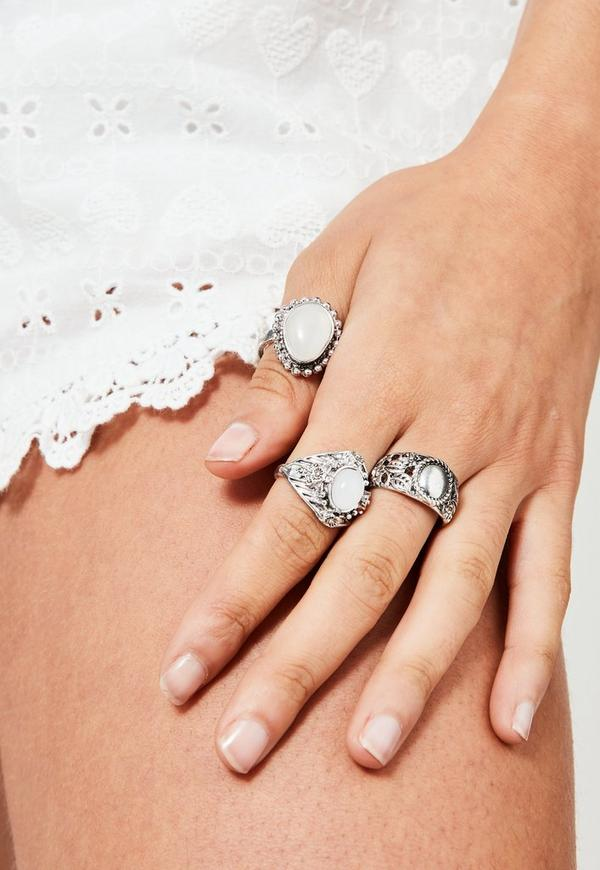 Silver Stone Detail Ring Set