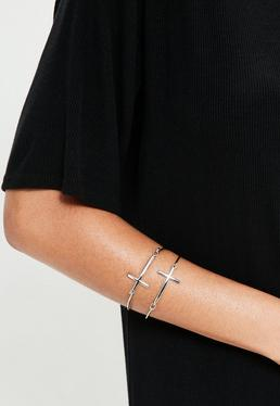 Cross Detail Bangles Silver