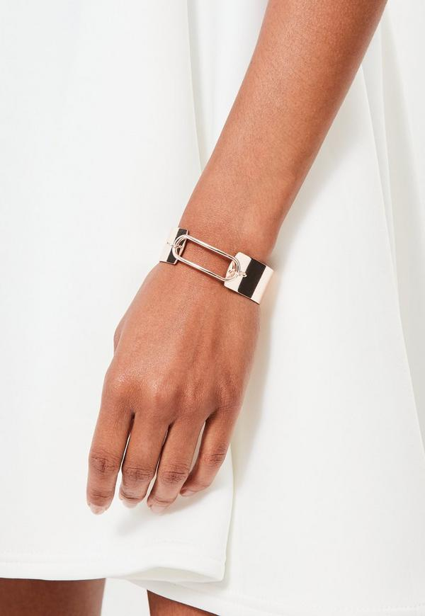 Rose Gold Wide Metallic Bracelet