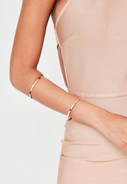 Gold Metal Bar Arm Cuff