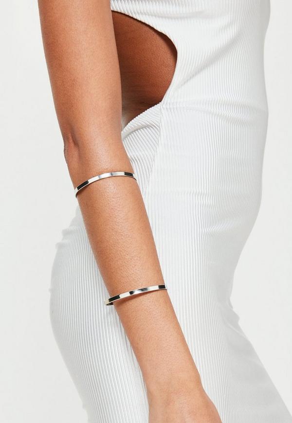 Silver Metal Bar Arm Cuff