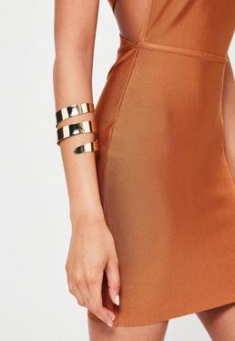 Gold Thick Double Banded Arm Cuff