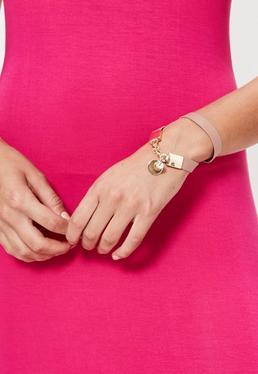 Faux Leather Wrap Bracelet Pink