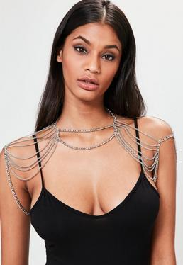Silver Drape Shoulder Body Chain