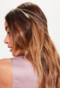 Goldener Haarreif mit Kettendesign