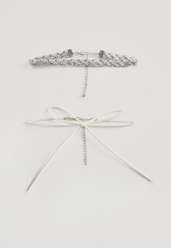 White Choker Necklace Pack