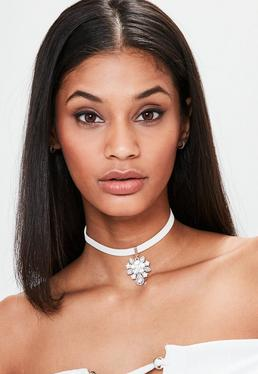 Silver Diamante Drop Detail Choker Necklace