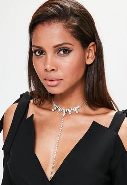 Silver Diamante Layered Choker Necklace