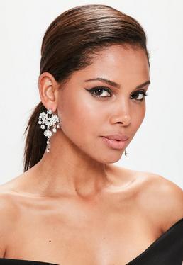 Silver Large Statement Diamond Earrings