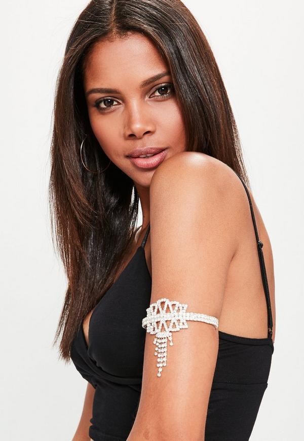 Silver Diamante Arm Cuff