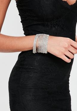 Brazalete con pulseras unidas de diamantes en plateado