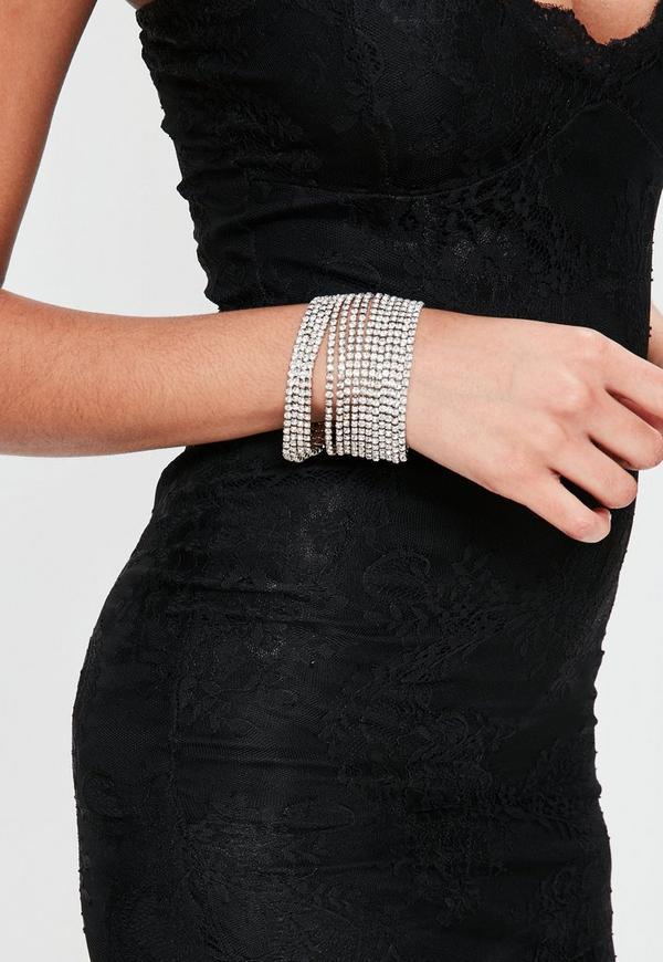 Silver Diamante Layered Bracelet