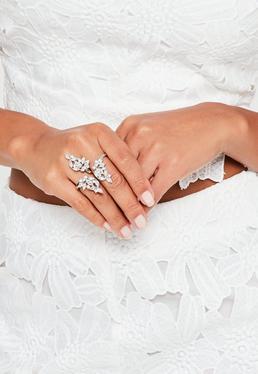 Double bague argentée à faux diamants