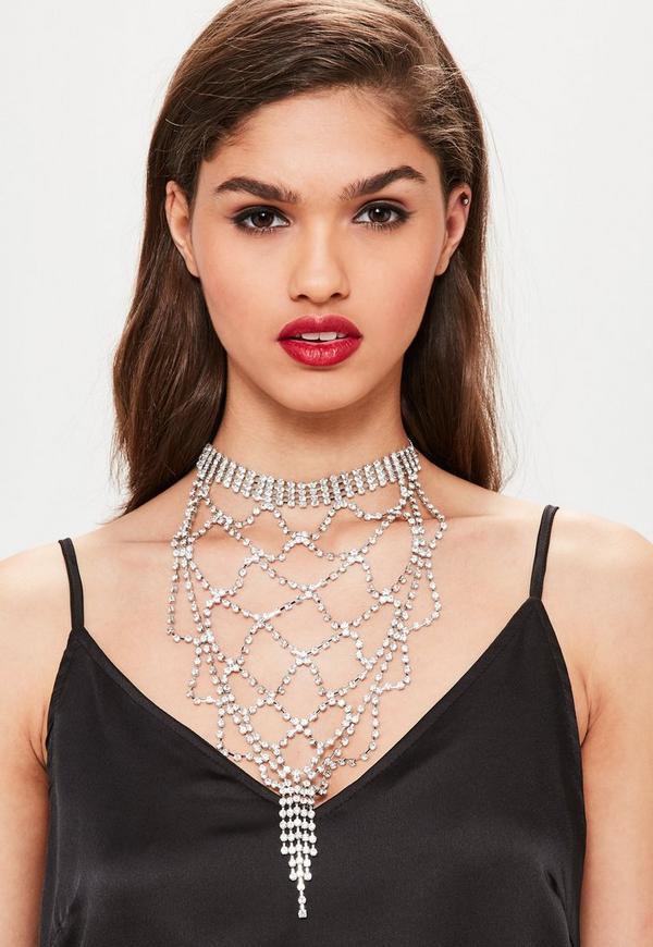 Silver Statement Diamond Necklace