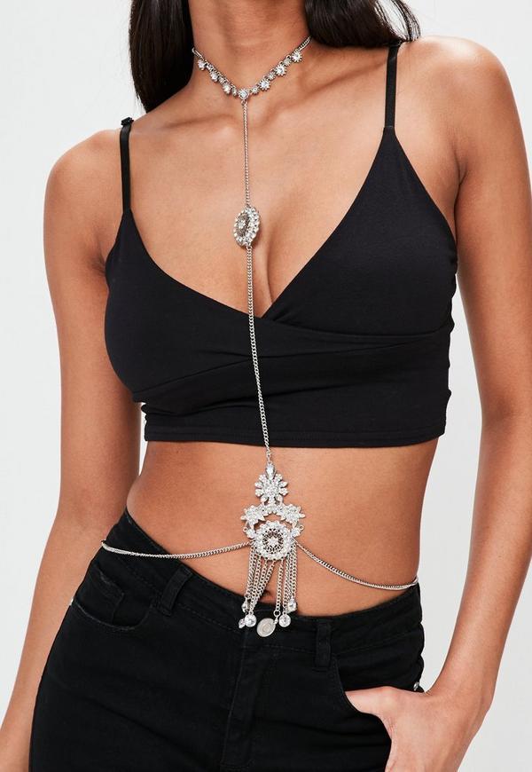 Silver Floral Diamante Body Chain
