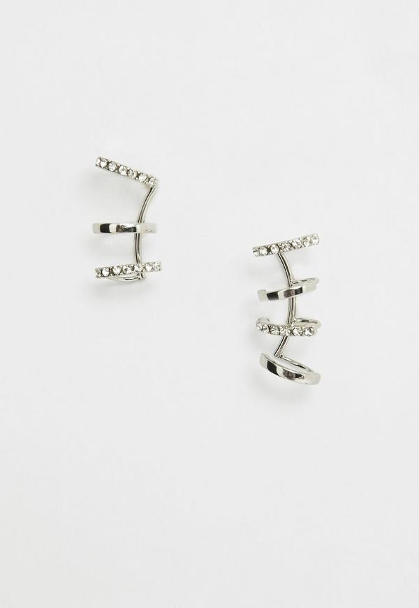 Silver Chain Cuff Earrings