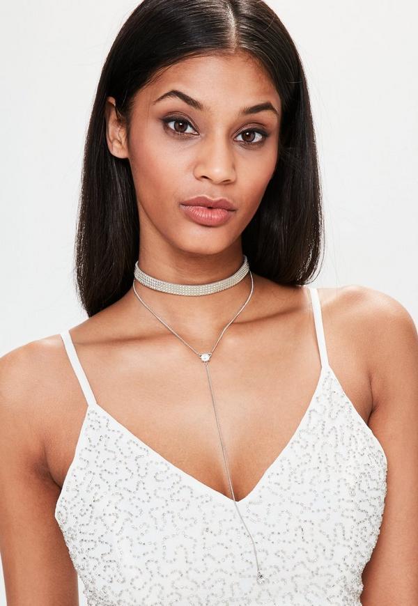Grey Studded Choker Necklace