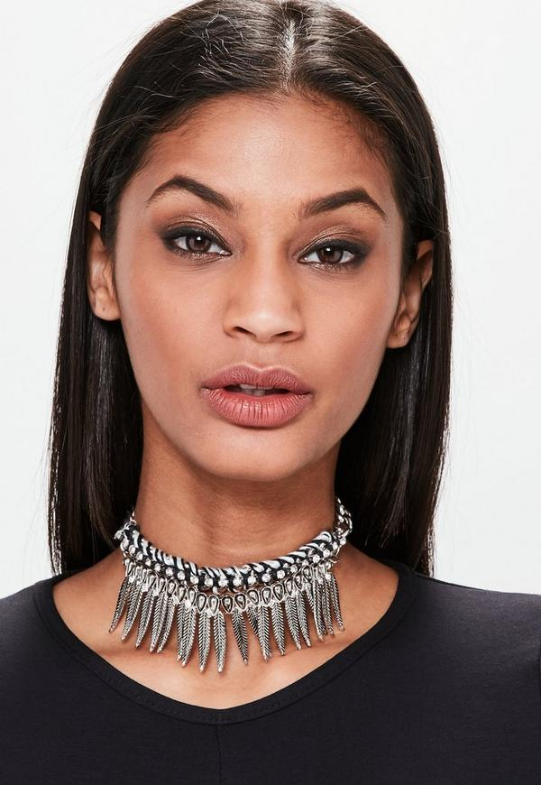 Black Metal Statement Feather Chunky Chain Choker Necklace