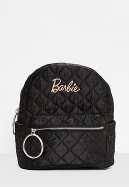Barbie x Missguided Mochila acolchada con bordados de satén en negro