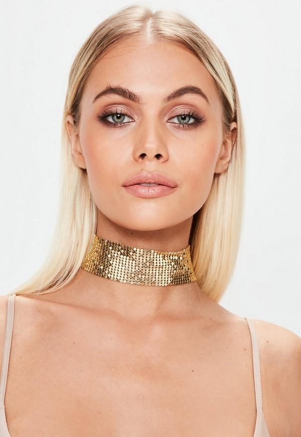 Gold Chain Mail Choker Necklace
