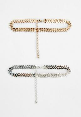 Two Pack Gold and Silver Choker Necklaces