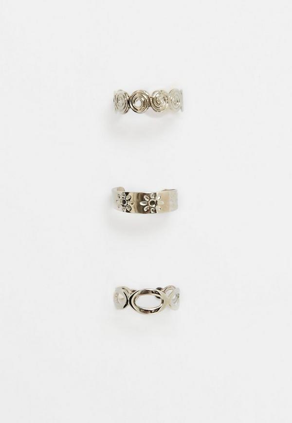 Silver Toe Rings Set