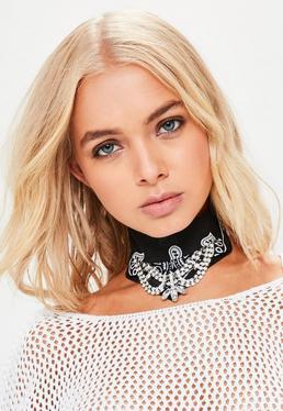 Black Bandanna Diamante Choker Necklace