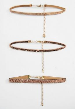 Rose Gold Snake Pattern Pack Of 3 Choker Necklaces