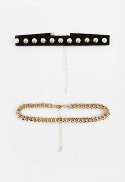 Pack Of 2 Stud And Chain Choker Necklaces