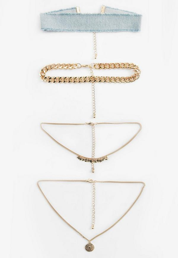 Blue Denim Layered Choker Necklace Pack