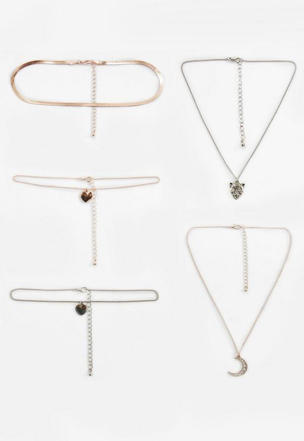 Rose Gold 5 Pack Charm Choker Necklaces