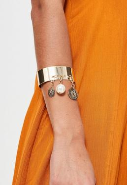 Gold Metal Charm Drop Cuff Bracelet