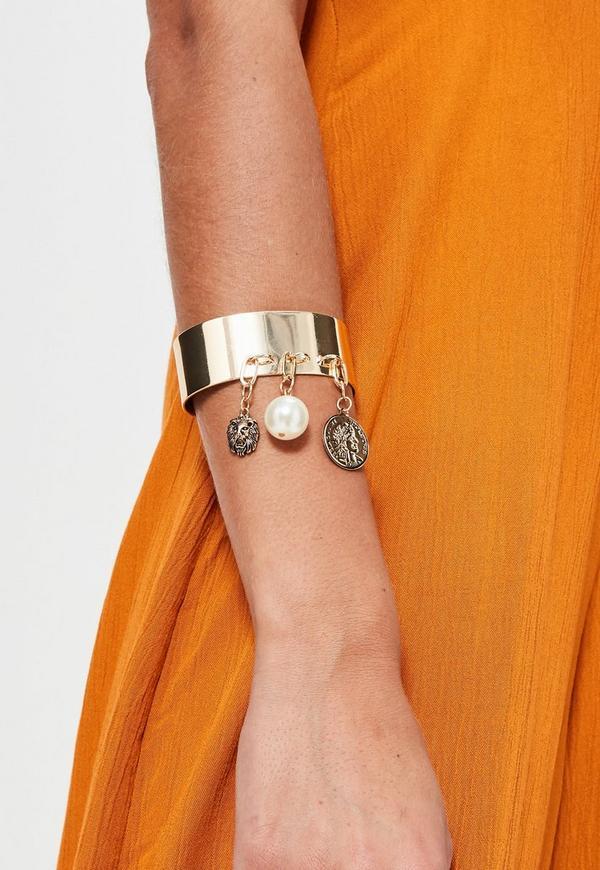 Gold Metal Charm Drop Cuff Bracelet