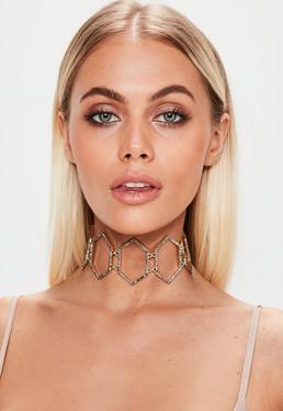 Gold Diamante Ribbon Tie Choker Necklace