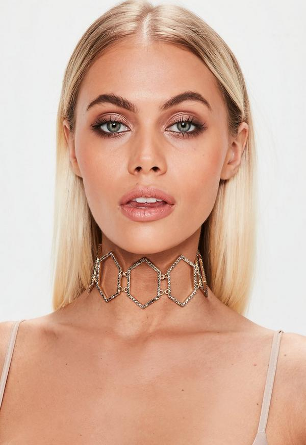 Gold Diamante Ribbon Tie Choker Necklace