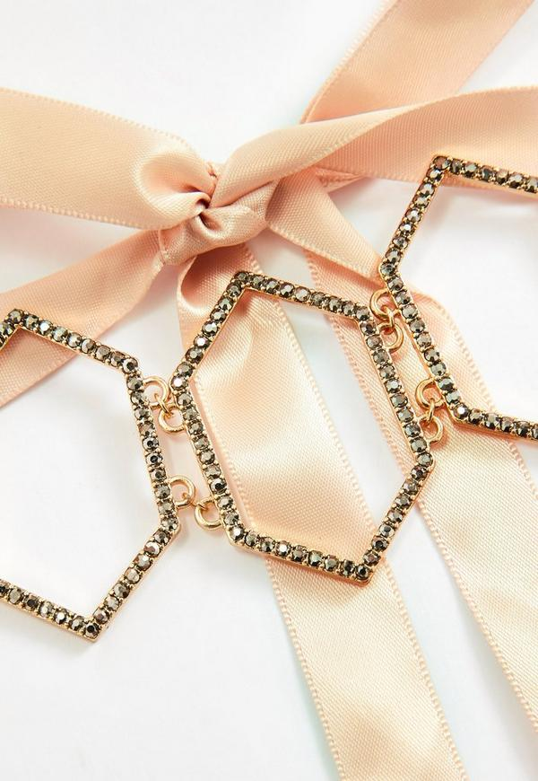 Gold diamante ribbon tie choker necklace missguided for Ribbon tie necklace jewelry