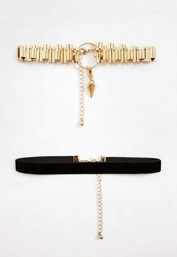 2 Pack Velvet and Chain Choker Necklaces