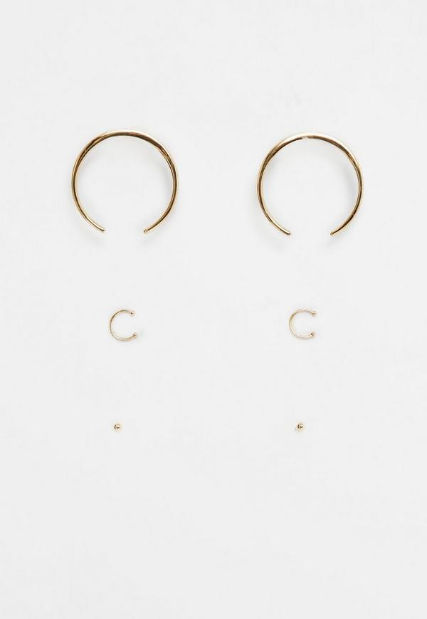 Gold Crescent Earrings Pack
