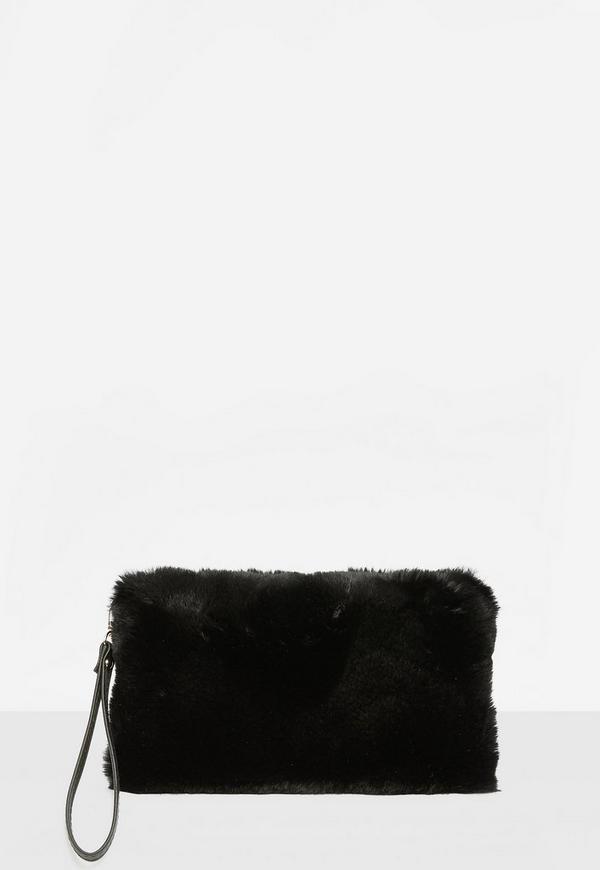 Black Faux Fur Zip Clutch
