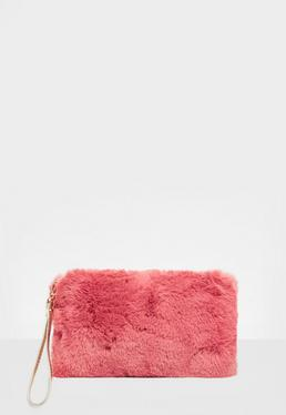 Pink Faux Fur Zip Clutch Bag