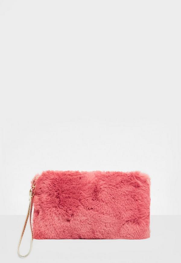 Pink Faux Fur Zip Clutch Bag