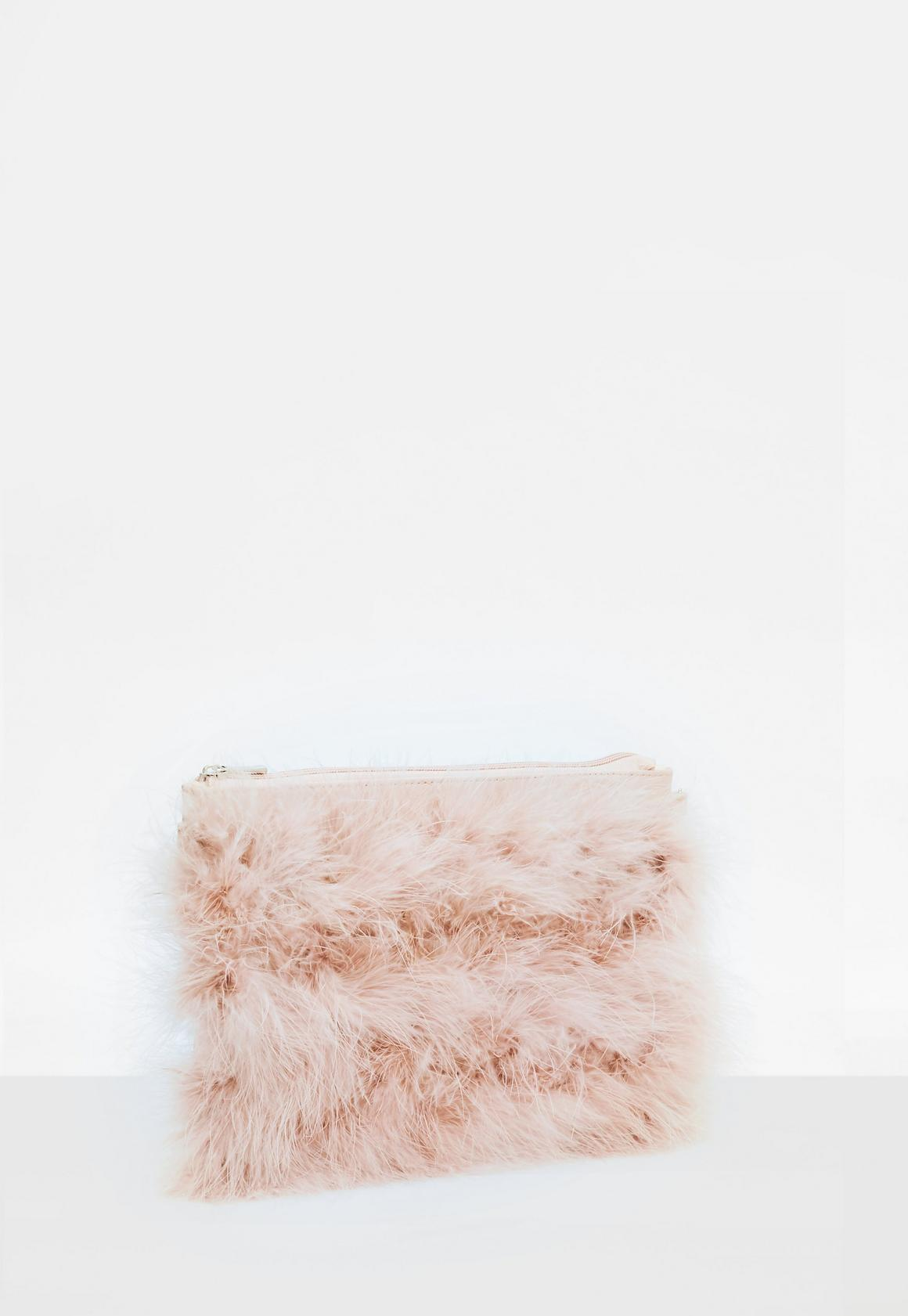 b65067aa95 Missguided - Pink Feather Zip Front Clutch