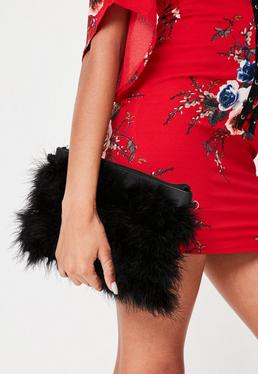 Black Feather Clutch Bag