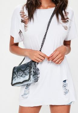 Grey Snake Print Cross Body Bag