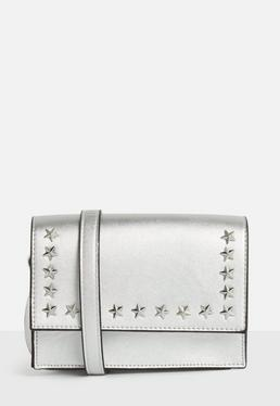 Silver Star Stud Cross Body Bag