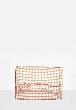 Clutch de malla metálica en oro rosa